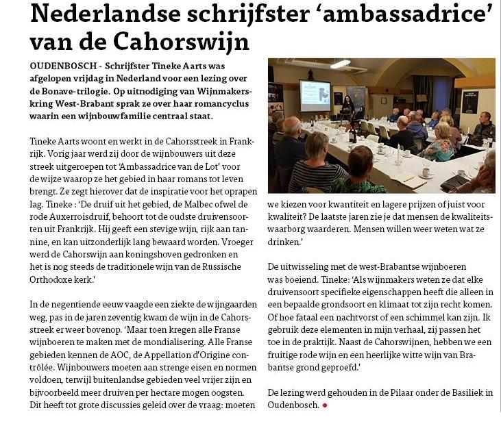 Bericht HB Lezing wijnmakers Brabant
